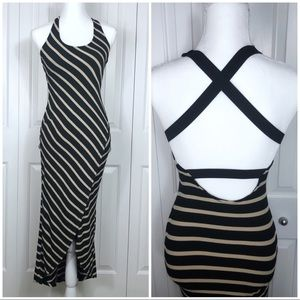 BEBE High Low Striped Very Fitted Crossback Dress